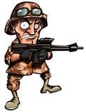 tecknad film isolerad soldatwhite Fotografering för Bildbyråer