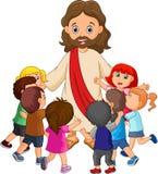 Tecknad film Jesus Christ som omges av barn stock illustrationer