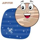 Tecknad film Jupiter Planet Character Arkivbild