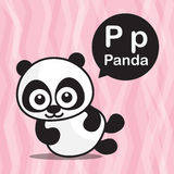 Tecknad film och alfabet för p-pandafärg för barn till att lära vect Arkivbild