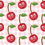 Tecknad film röda Cherry Seamless Pattern Arkivfoton