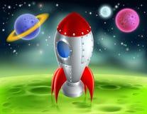 Tecknad film Rocket On Alien Planet stock illustrationer