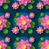 Tecknad film s?ml?sa Lotus Background For Printing Design dekorativt element seamless abstrakt bakgrund Vektorutskrift vektor illustrationer