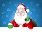 Tecknad film Santa Claus över ett vitt mellanrum Arkivfoto