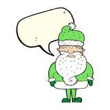 tecknad film Santa Claus med anförandebubblan Arkivbild