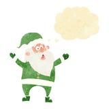 tecknad film Santa Claus med tankebubblan Royaltyfri Bild