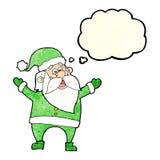 tecknad film Santa Claus med tankebubblan Arkivbild