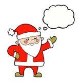 tecknad film Santa Claus med tankebubblan Arkivfoto