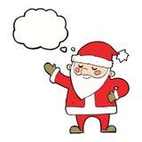 tecknad film Santa Claus med tankebubblan Royaltyfria Foton