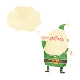 tecknad film Santa Claus med tankebubblan Arkivfoton