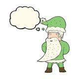 tecknad film Santa Claus med tankebubblan Royaltyfria Bilder