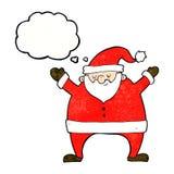 tecknad film Santa Claus med tankebubblan Royaltyfri Foto