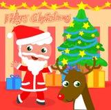 Tecknad film Santa Claus med trädet och renen vektor illustrationer