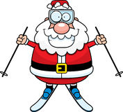 Tecknad film Santa Claus Skiing Arkivbild