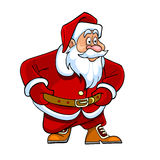 Tecknad film Santa Claus som nyfiket ser Arkivfoto