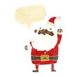 tecknad film Santa Claus som stansar luft med anförandebubblan Arkivbilder