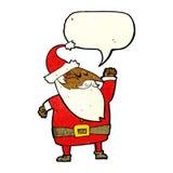 tecknad film Santa Claus som stansar luft med anförandebubblan Fotografering för Bildbyråer