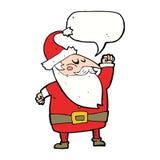 tecknad film Santa Claus som stansar luft med anförandebubblan Royaltyfri Foto