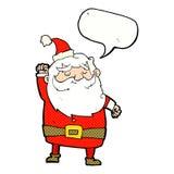 tecknad film Santa Claus som stansar luft med anförandebubblan Arkivfoton