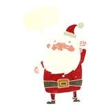 tecknad film Santa Claus som stansar luft med anförandebubblan Royaltyfria Bilder
