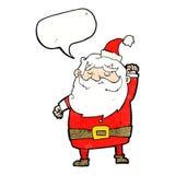 tecknad film Santa Claus som stansar luft med anförandebubblan Arkivfoto