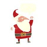 tecknad film Santa Claus som stansar luft med anförandebubblan Arkivbild