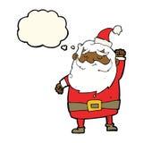 tecknad film Santa Claus som stansar luft med tankebubblan Royaltyfria Bilder