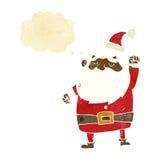 tecknad film Santa Claus som stansar luft med tankebubblan Arkivfoton