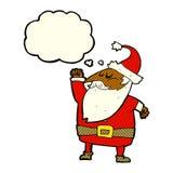 tecknad film Santa Claus som stansar luft med tankebubblan Royaltyfri Bild