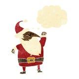 tecknad film Santa Claus som stansar luft med tankebubblan Arkivbilder