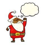 tecknad film Santa Claus som stansar luft med tankebubblan Arkivbild