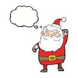 tecknad film Santa Claus som stansar luft med tankebubblan Royaltyfri Fotografi