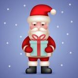 Tecknad film Santa Claus Toy Character Hold Present Arkivfoton
