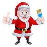 Tecknad film Santa Giving Thumbs Up och innehavmålarpensel Arkivbilder