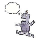 tecknad film skrämd robot med tankebubblan Arkivfoto