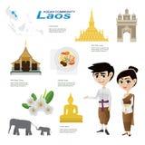 Tecknad film som är infographic av Laos ASEAN-gemenskap royaltyfri illustrationer