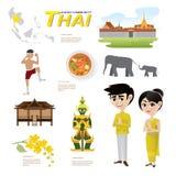Tecknad film som är infographic av Thailand ASEAN-gemenskap stock illustrationer