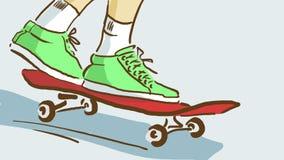 Tecknad film som är nära upp av fot för skateboardryttare` s på en skridsko, nedersta sikt Royaltyfri Foto