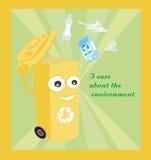 tecknad film som föreställer ett roligt återvinningfack Royaltyfria Bilder