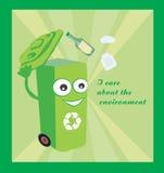 tecknad film som föreställer ett roligt återvinningfack Arkivbilder