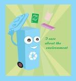 tecknad film som föreställer ett roligt återvinningfack Arkivfoton