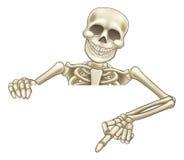 Tecknad film som kikar det skelett- tecknet Arkivfoton