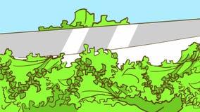 Tecknad film som klipper en ny salladgrönsallat med en kniv Arkivbilder