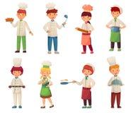 Tecknad film som lagar mat barn Den lilla kocken lagar mat mat, ungekocken och den gourmet- barns uppsättningen för illustration  stock illustrationer