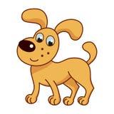 Tecknad film som ler den guld- valpen, gullig rolig stygg hund Arkivbilder