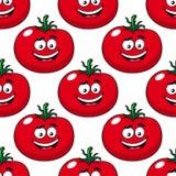 Tecknad film som ler den sömlösa modellen för röda tomater Royaltyfri Foto