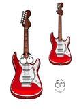 Tecknad film som ler det röda teckenet för elektrisk gitarr Arkivfoto