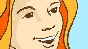 Tecknad film som ler framsidan för flicka` s Gladlynt dam med rött hår Arkivbild