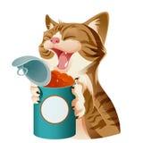 Tecknad film som ler katten och dess mat Fotografering för Bildbyråer
