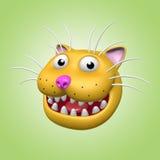 Tecknad film som ler katthuvudet illustration 3d Fotografering för Bildbyråer